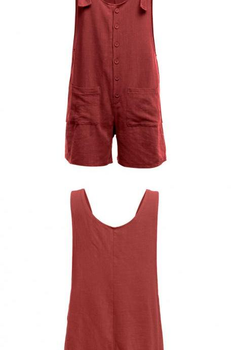 Women Short Jumpsuit Summer Button Pocket Casual Loose Cotton Linen Playsuit Overalls wine red