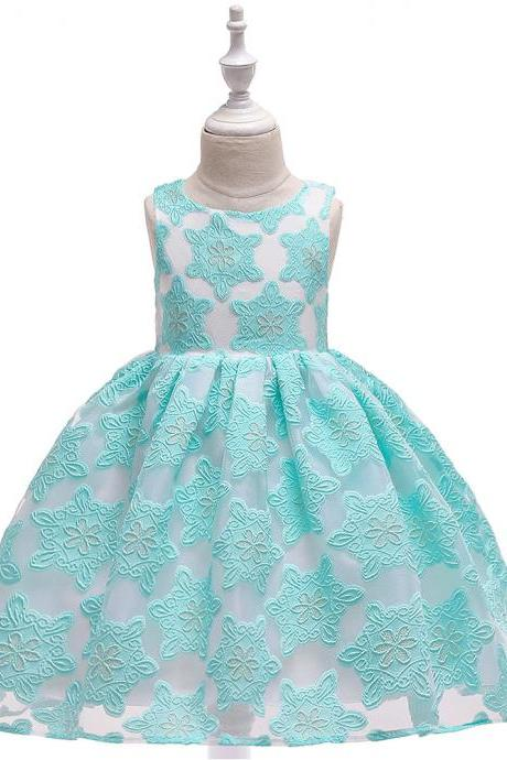 Embroidery Lace Flower Girl Dress Princess Formal Party Birthday Tutu Gown Kids Children Clothes aqua