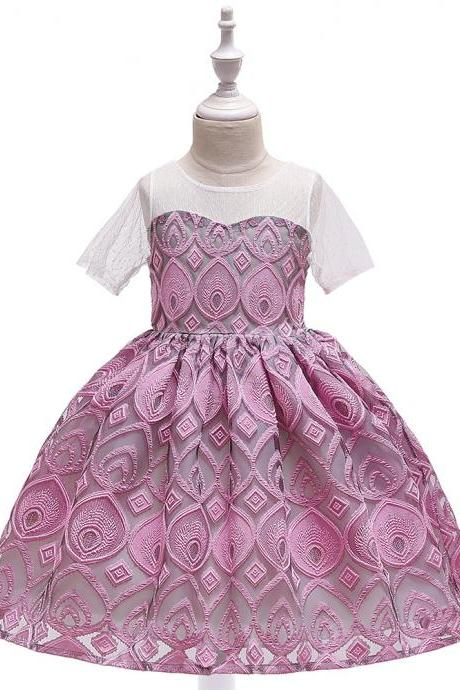 Lace Flower Girl Dress Short Sleeve Formal Party Birthday Tutu Gown Kids Children Clothes blush