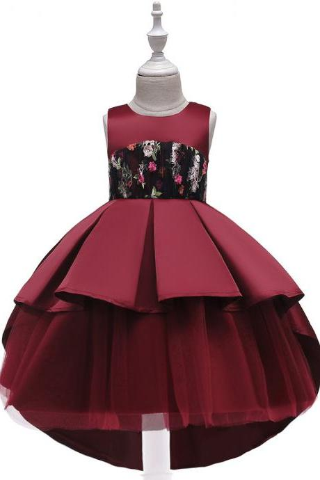 High Low Flower Girl Dress Trailing Satin Formal Party Birthday Tutu Gown Kids Children Clothes crimson