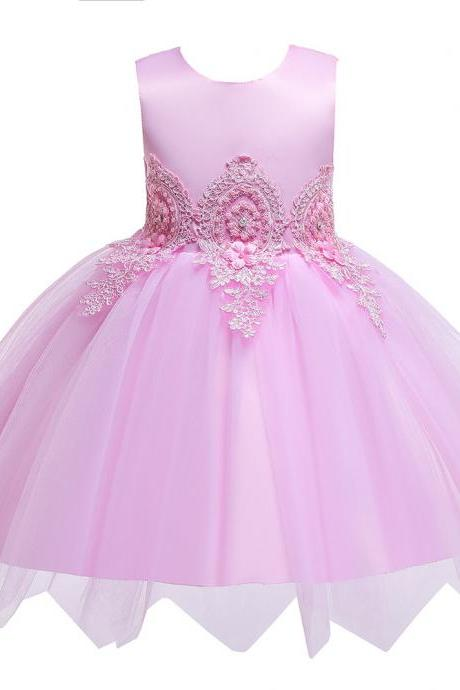 Lace Flower Girl Dress Princess Formal Birthday Party Tutu Gowns Kid Children Clothes pink