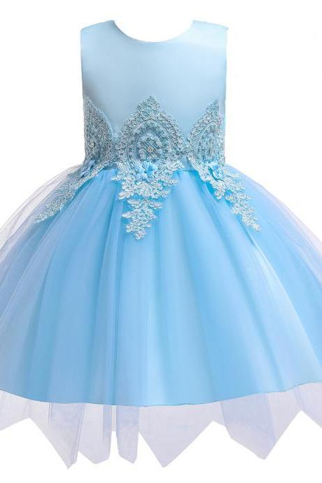 Lace Flower Girl Dress, Princess dress,Formal Girl Dress, Birthday Girl Dress, Party Girl Dress, Tutu Gowns, Kid Children Clothes sky blue