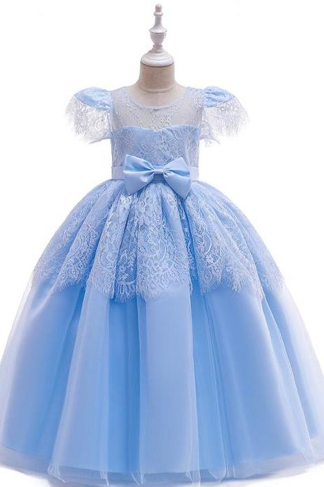 Lace Long Flower Girl Dress Short Sleeve Teens Formal Evening Party Gowns Kid Children Clothes sky blue