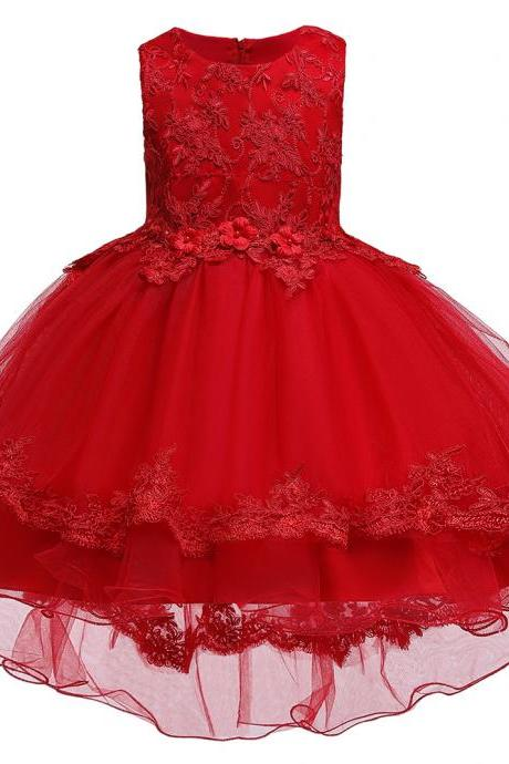 High Low Flower Girl Dress Lace Trailing Wedding Formal Birthday Party Gown Kids Children Clothes red
