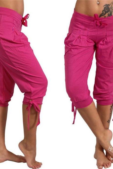 Women Cropped Pants Summer Sequined Bandage Mid Waist Plus Size Casual Trousers hot pink