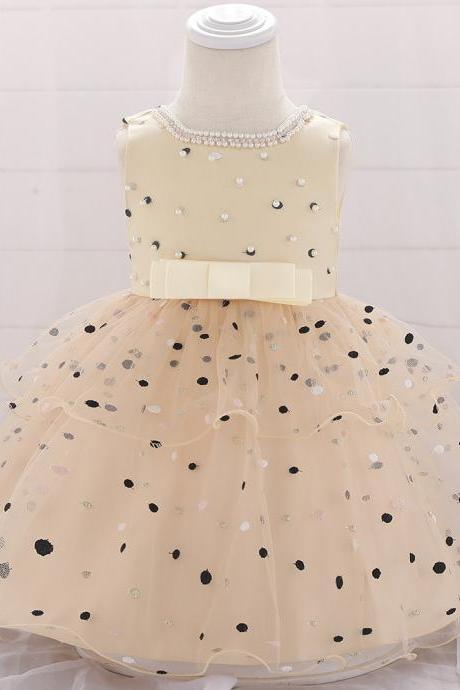 NewBorn Polka Dot Flower Girl Dress Princess Tutu Wedding Birthday Party Baptism Gown Baby Kids Clothes champagne