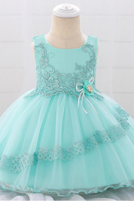 Applique Lace Flower Girl Dress Princess Tutu Newborn Wedding Birthday Party Baptism Gown Baby Kids Clothes aqua