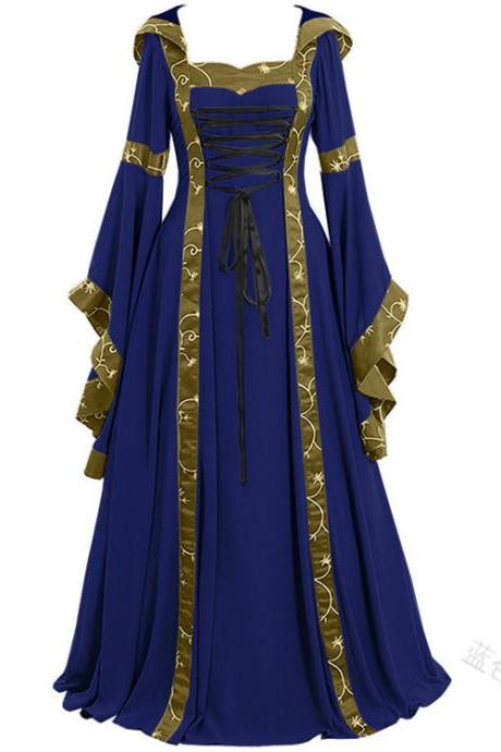 Women Maxi Dress Hooded Flare Sleeve Medieval Renaissance Gown Vintage Halloween Costume blue