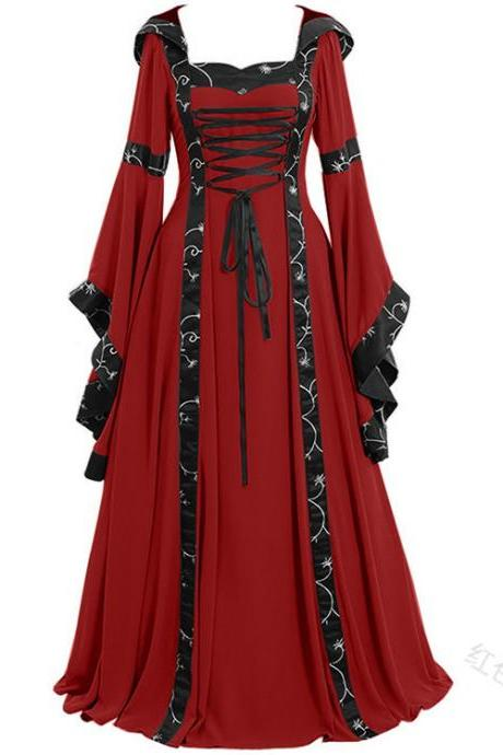 Women Maxi Dress Hooded Flare Sleeve Medieval Renaissance Gown Vintage Halloween Costume red