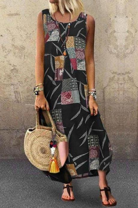 Women Maxi Dress Sleeveless Floral Printed Summer Causal Boho Beach Long Sundress black