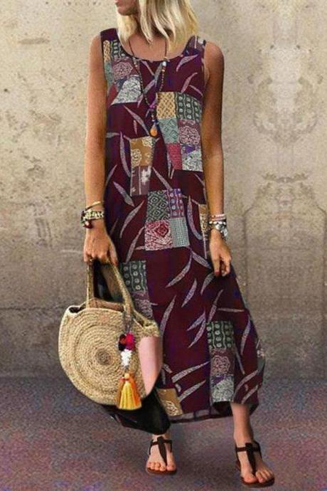 Women Maxi Dress Sleeveless Floral Printed Summer Causal Boho Beach Long Sundress wine red
