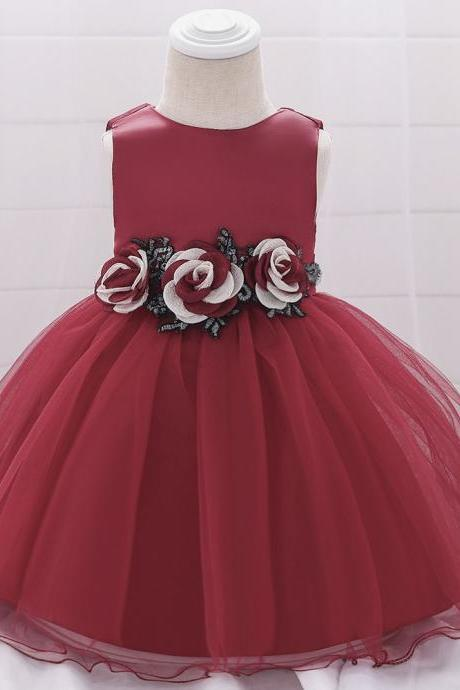 Baby Girls Dress Flower Tutu Princess Birthday Baptism Party Gown Kids Children Clothes wine red