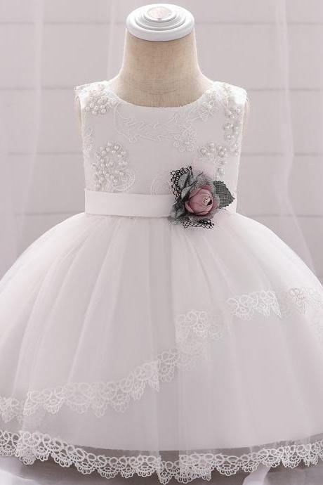 Lace Flower Girls Dress Tutu Newborn Wedding Birthday Baptism Party Gown Baby Kids Clothes white