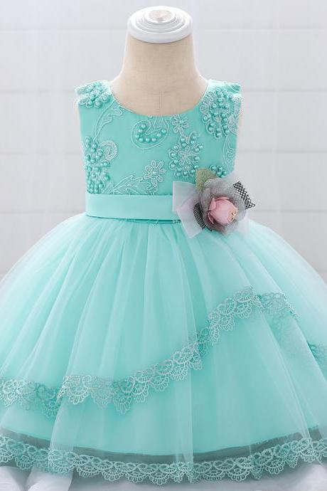 Lace Flower Girls Dress Tutu Newborn Wedding Birthday Baptism Party Gown Baby Kids Clothes aqua