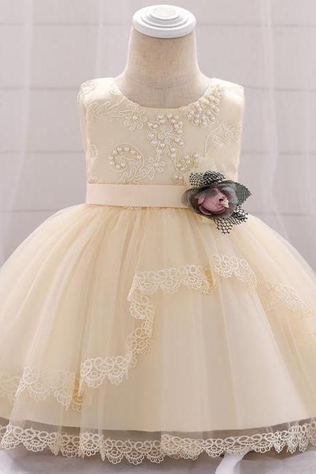 Lace Flower Girls Dress Tutu Newborn Wedding Birthday Baptism Party Gown Baby Kids Clothes champagne