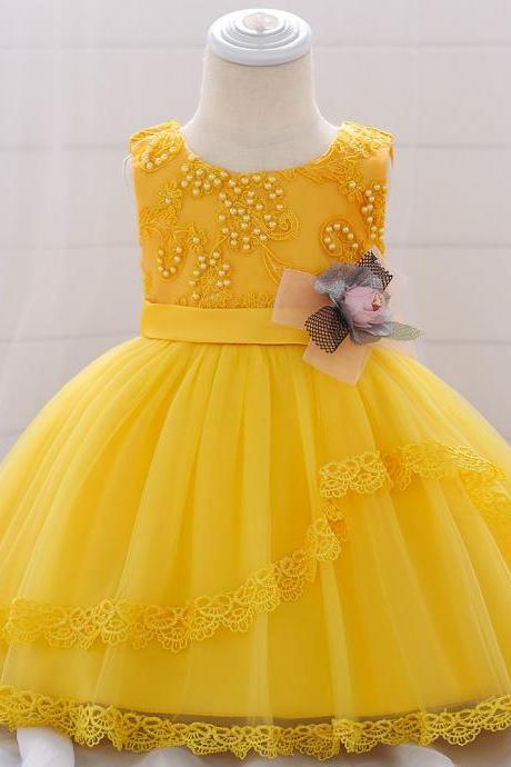 Lace Flower Girls Dress Tutu Newborn Wedding Birthday Baptism Party Gown Baby Kids Clothes yellow