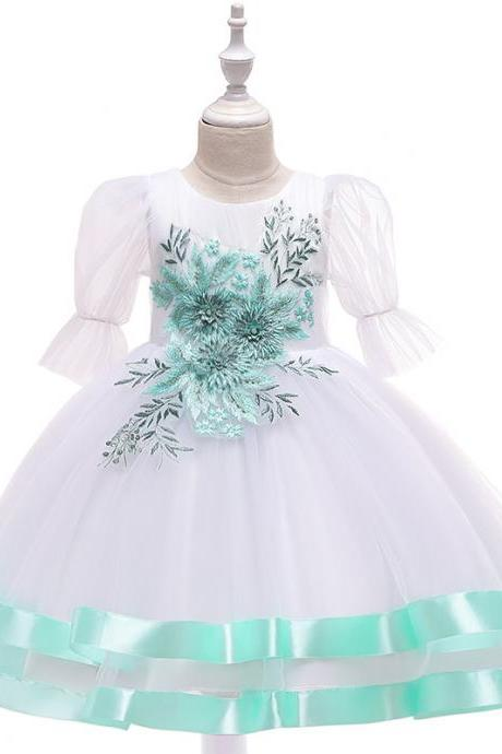 Princess Flower Girl Dress Puff Sleeve Tutu Wedding Birthday Party Perform Gown Children Kids Clothes aqua