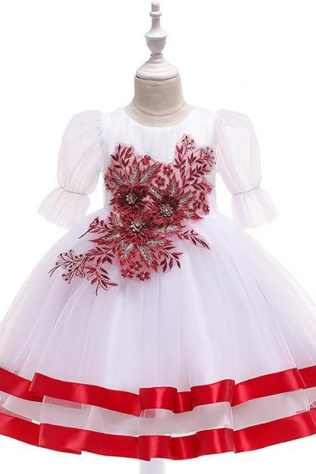 Princess Flower Girl Dress Puff Sleeve Tutu Wedding Birthday Party Perform Gown Children Kids Clothes red