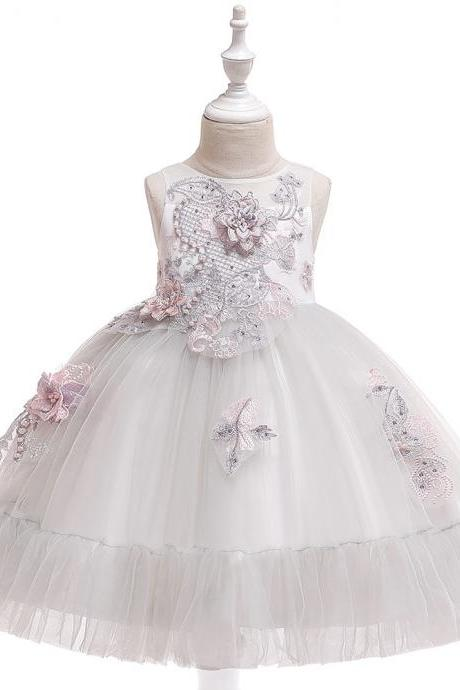 Applique Flower Girl Dress Princess Tutu Evening Birthday Party Formal Gown Children Kids Clothes light gray