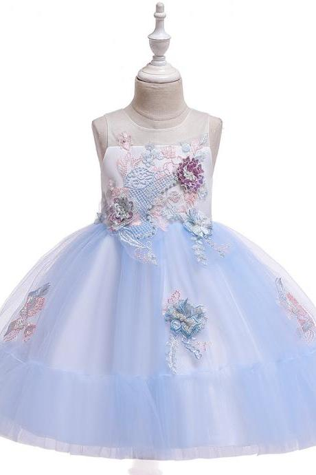 Applique Flower Girl Dress Princess Tutu Evening Birthday Party Formal Gown Children Kids Clothes sky blue