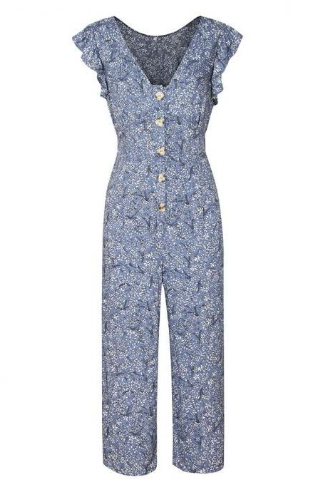 Women Jumpsuit V-neck Sleeveless Floral Printed Button Casual Loose Romper Overalls blue