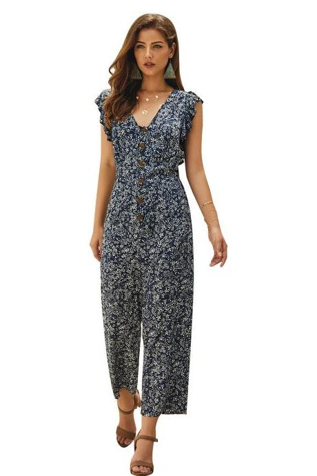 Women Jumpsuit V-neck Sleeveless Floral Printed Button Casual Loose Romper Overalls navy blue