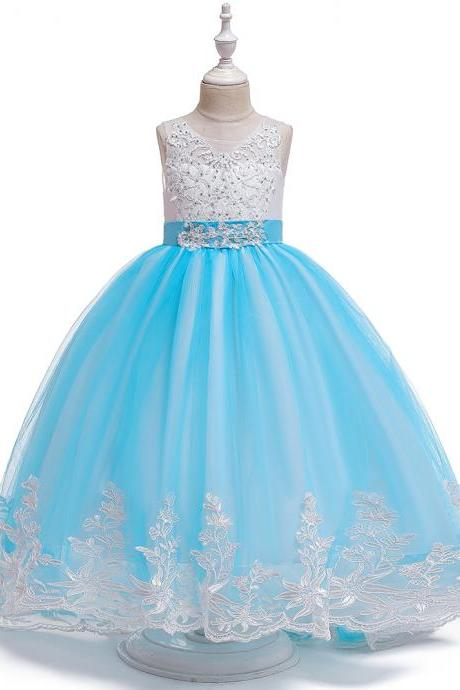 Long Flower Girls Dress Trailing Lace Tutu Wedding Birthday Formal Party Gown Kids Children Clothes sky blue