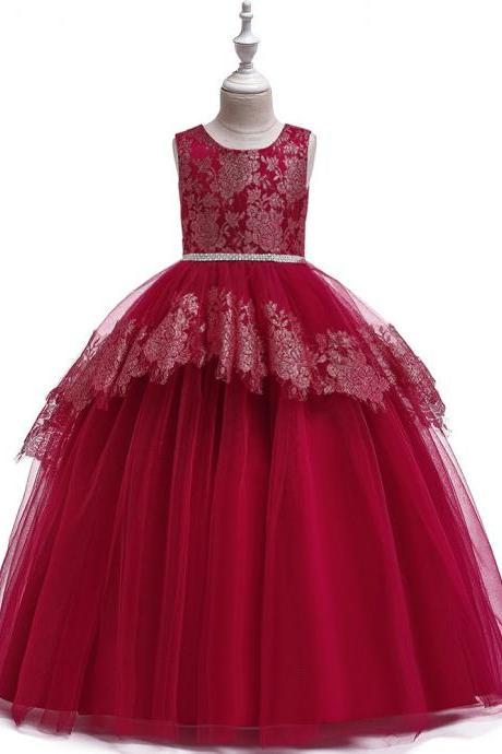 Long Lace Flower Girl Dress Teens Formal Birthday Bridesmaid Party Tutu Gown Chidlren Kids Clothes wine red