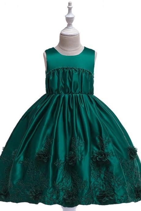 Sleeveless Flower Girl Dress Princess Formal Birthday Party Tutu Gown Chidlren Kids Clothes hunter green