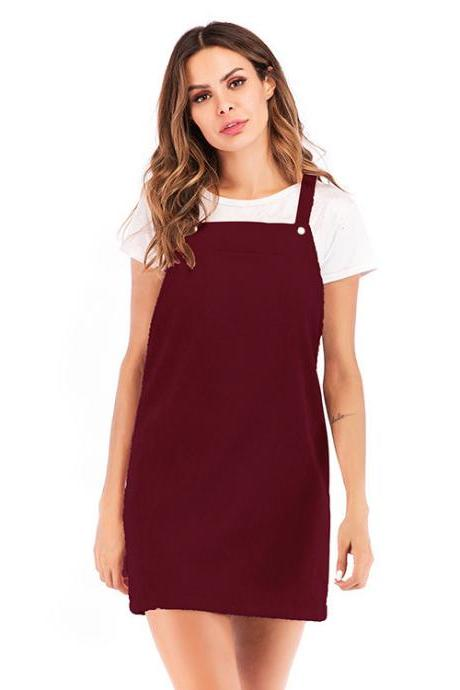 Women Casual Dress Corduroy Vest Overall Sleeveless Mini Suspender Dress wine red