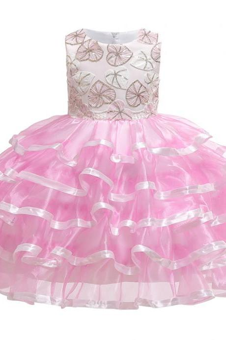 Princess Flower Girl Dress Layered Formal Birthday Party Tutu Gown Chidlren Kids Clothes pink