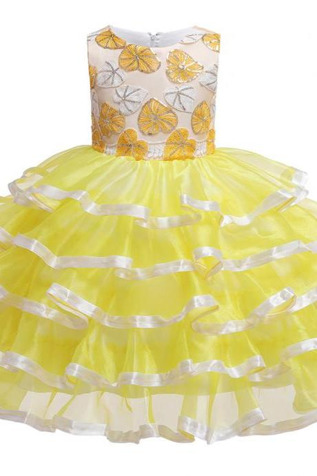 Princess Flower Girl Dress Layered Formal Birthday Party Tutu Gown Chidlren Kids Clothes yellow
