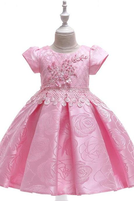 Beaded Flower Girl Dress Short Sleeve Formal Birthday Party Tutu Gown Chidlren Kids Clothes pink