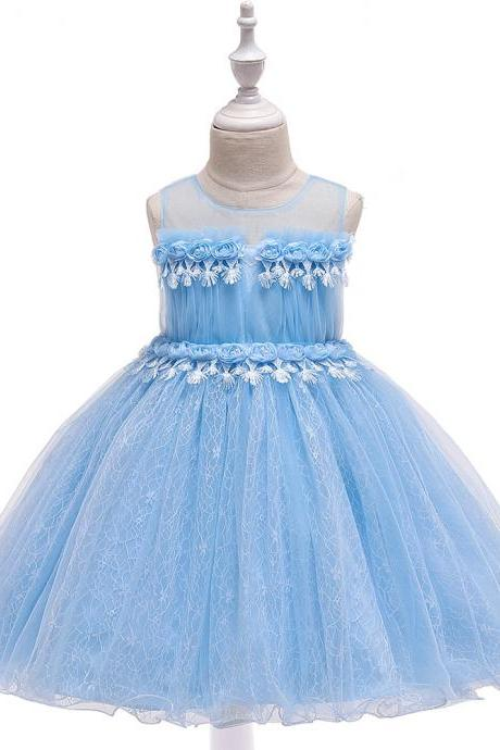 Lace Flower Girl Dress Princess Formal Birthday Party Tutu Gown Kids Children Clothes sky blue