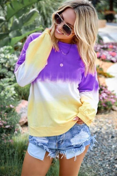 Women Sweatshirt Rainbow Gradient Color Autumn Long Sleeve Plus Size Casual Loose Pullover Tops purple