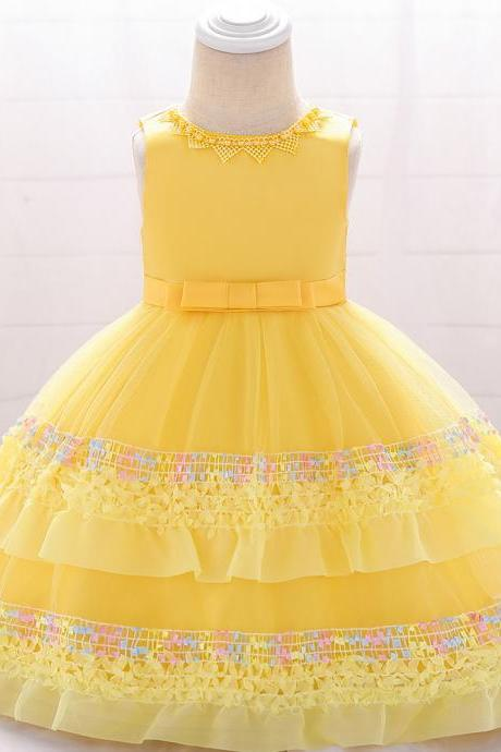 Newborn Flower Girl Dress Tutu Formal Birthday Party Baby Baptism Gown Kids Children Clothes yellow