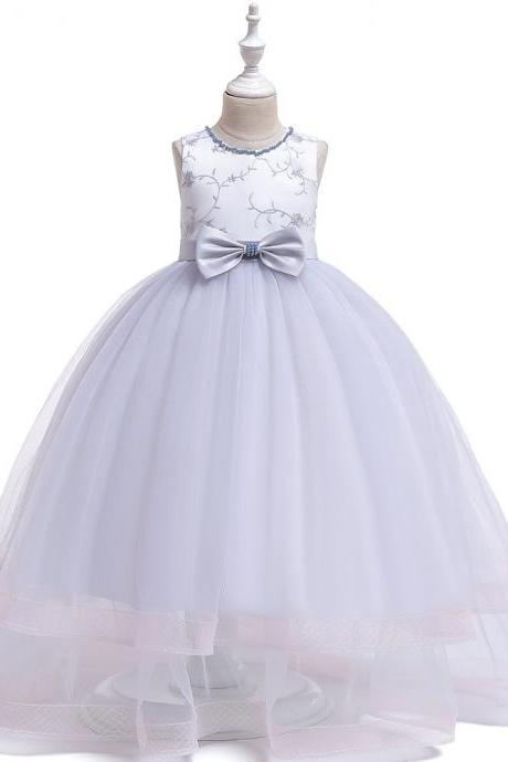 Embroidery Flower Girl Dress Teens Long Formal Birthday Party Bridesmaid Gown Kids Children Clothes silver