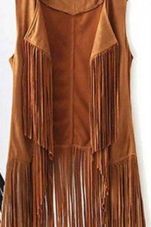 Women Tassels Outwear Sleeveless Fringed Solid Color Vest Long Waistcoat khaki