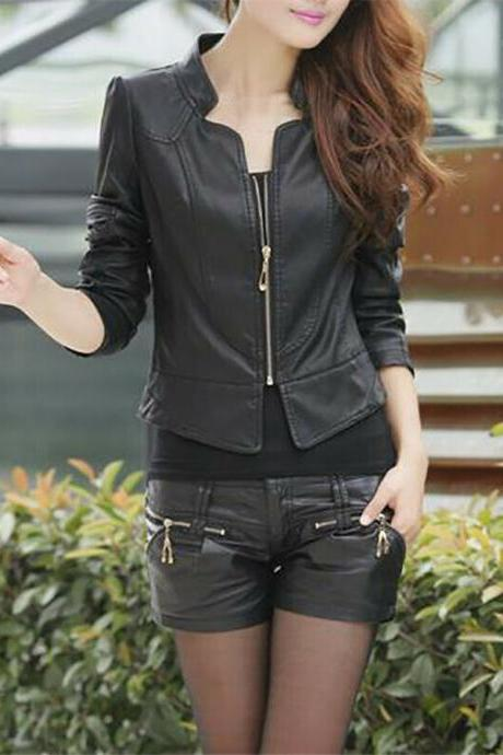 Women Long Sleeve Coat PU Leather Motorcycle Bomber Biker Crop Short Jacket black