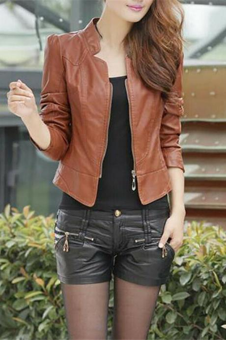 Women Long Sleeve Coat PU Leather Motorcycle Bomber Biker Crop Short Jacket Brown