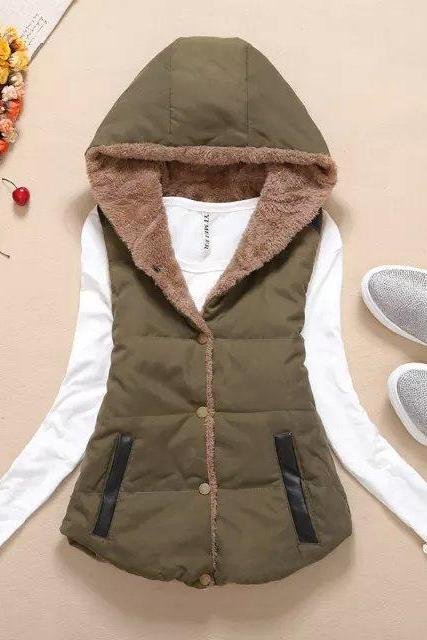 Women Hooded WaistcoatLadies Sleeveless Winter Gilet Fleece Hoodies Coat Jacket anmy blue