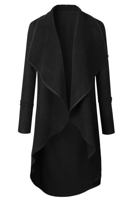 Women's Long Waterfall Solid Coat Jacket Open Cardigan Outwear Sweater Jumper black