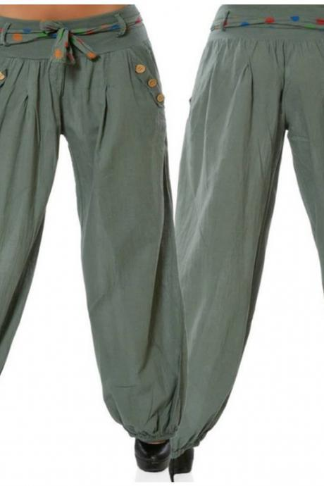 Women Casual Baggy Harem Pants Hippie Boho Aladdin AliBaba Yoga Long Trousers army green
