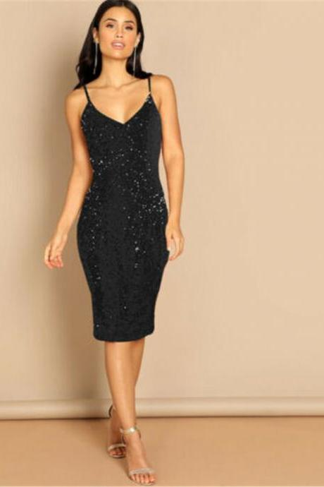 Fashion Sexy Women Ladies Sleeveless Sequins Bodycon Evening Party Formal Dress black