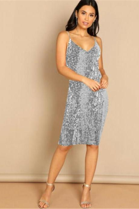 Fashion Sexy Women Ladies Sleeveless Sequins Bodycon Evening Party Formal Dress silver