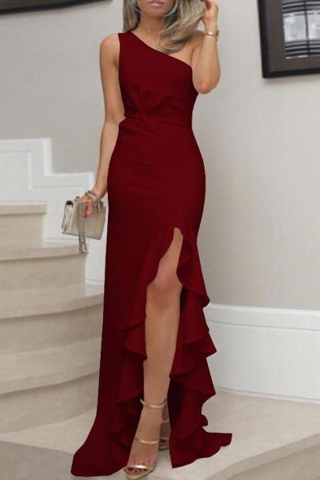 Womens Ruffled Long Dress Evening Cocktail Ladies Wedding Bridesmaid Party Gown wine red