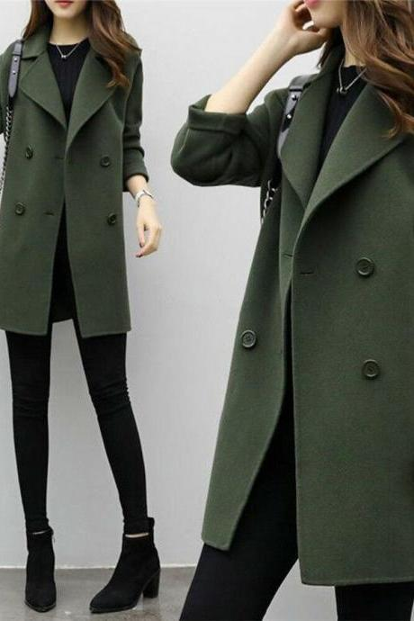 Women Winter Warm Trench Wool Parka Long Slim Coat Outwear Long Lapel Jacket lot army green