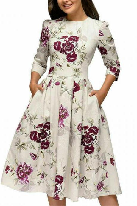 Autumn Spring Vintage Women Retro Tunic Long Sleeved Print Floral A-Line Dresses white