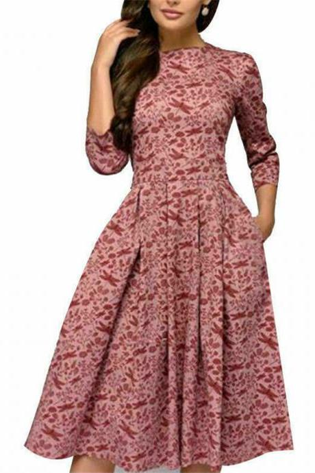 Autumn Spring Vintage Women Retro Tunic Long Sleeved Print Floral A-Line Dresses pink