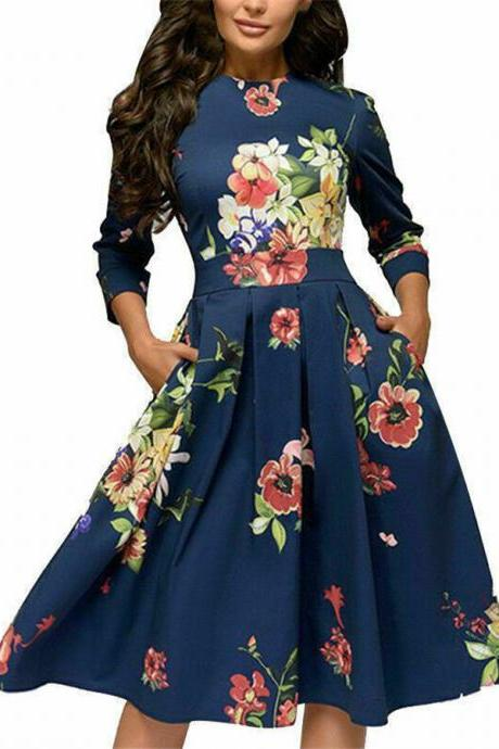 Autumn Spring Vintage Women Retro Tunic Long Sleeved Print Floral A-Line Dresses navy blue